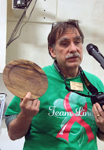 Photo: Tim Aley shows an oak plate he made from a friends tree.