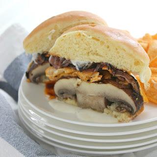 Cheddar Portabella Burgers with Charred Red Onion Recipe