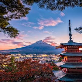 Mt. Fuji with Chureito Pagoda and red leaf in the autumn by Nuttawut Uttamaharach - Buildings & Architecture Other Exteriors ( cherry, november, kawaguchiko, japan, kawaguchi, red, beautiful, mountain, view, japanese, fall, chureito, season, volcano, landmark, day, shinto, tower, sky, roof, sakura, nature, arakura, mt, tree, mount, fujiyoshida, shrine, pagoda, tokyo, foliage, sengen, background, yamanashi, sunset, temple, autumn, travel, volcanic, fuji, landscape )