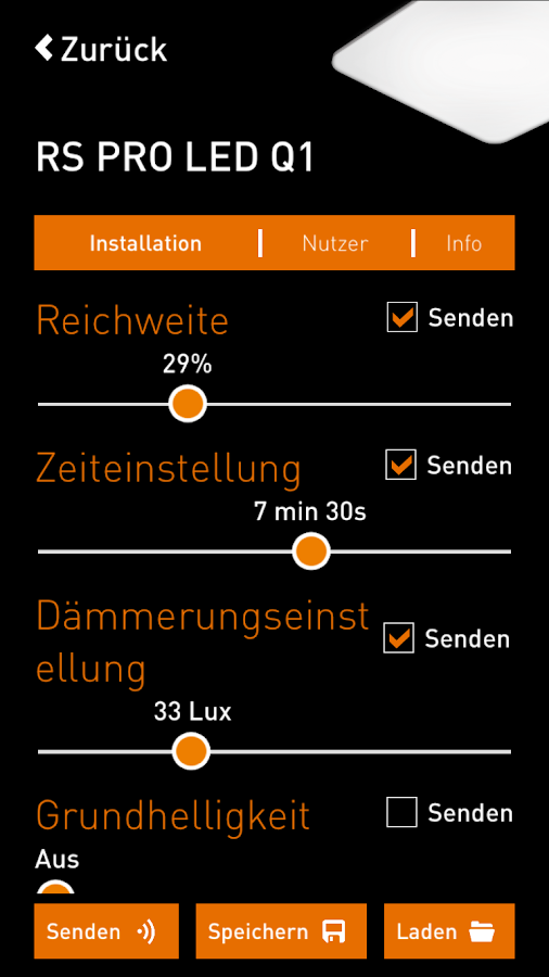 STEINEL SmartRemote – Screenshot