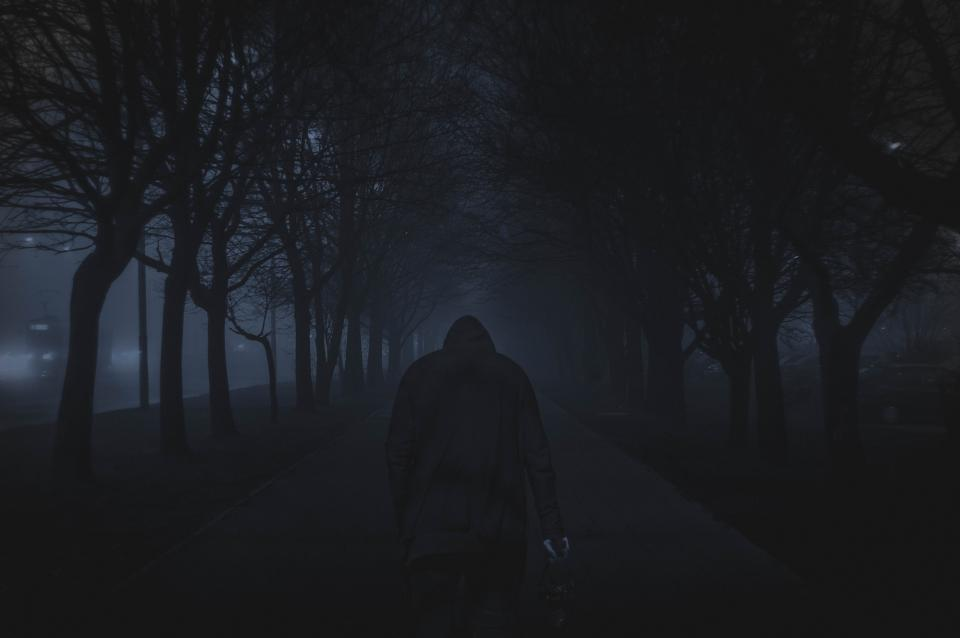 street road trees plant nature people black hoodie jacket walking dark fog creepy