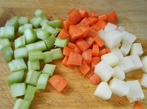 Cut potatoes, celery and carrots in same size small cubes.  Dice onion. ...