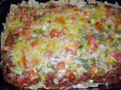 """Taco Casserole""""I made this tonight and my husband, the refried beans hater,..."""