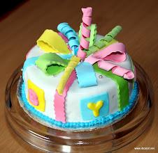 Photo: BABY shower fondant covered GIFTING cake