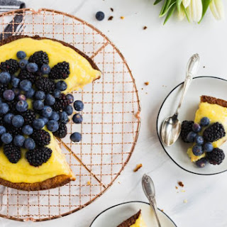 Almond Cake With Lemon Curd And Fresh Berries.