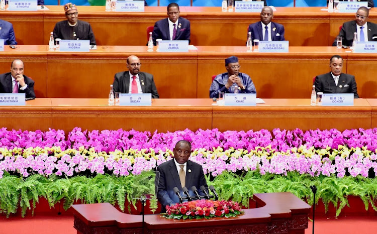President Cyril Ramaphosa addresses the Forum on China-Africa Co-operation in Beijing, China, September 3 2018. Picture: GCIS
