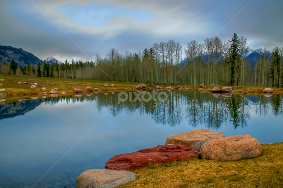 Morning Calm by Tom Weisbrook - Landscapes Waterscapes ( water, million dollar highway, peaceful, durango, calmness, sw colorado, scenic highway, colorado, reflections, san juan skyway, four corners region, relaxing, pond )