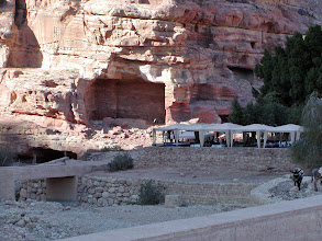 Photo: The tented area marked the end of our walk into Petra and a spot for a late lunch.  Afterwards, we made our return trip.