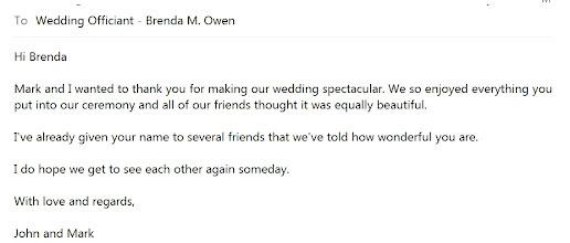 Photo: Sweet note from John & Mark http://WeddingWoman.net