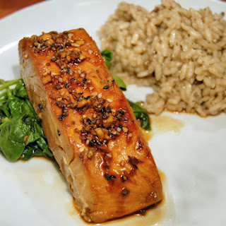 Quick and Easy Broiled Salmon with Honey and Soy.
