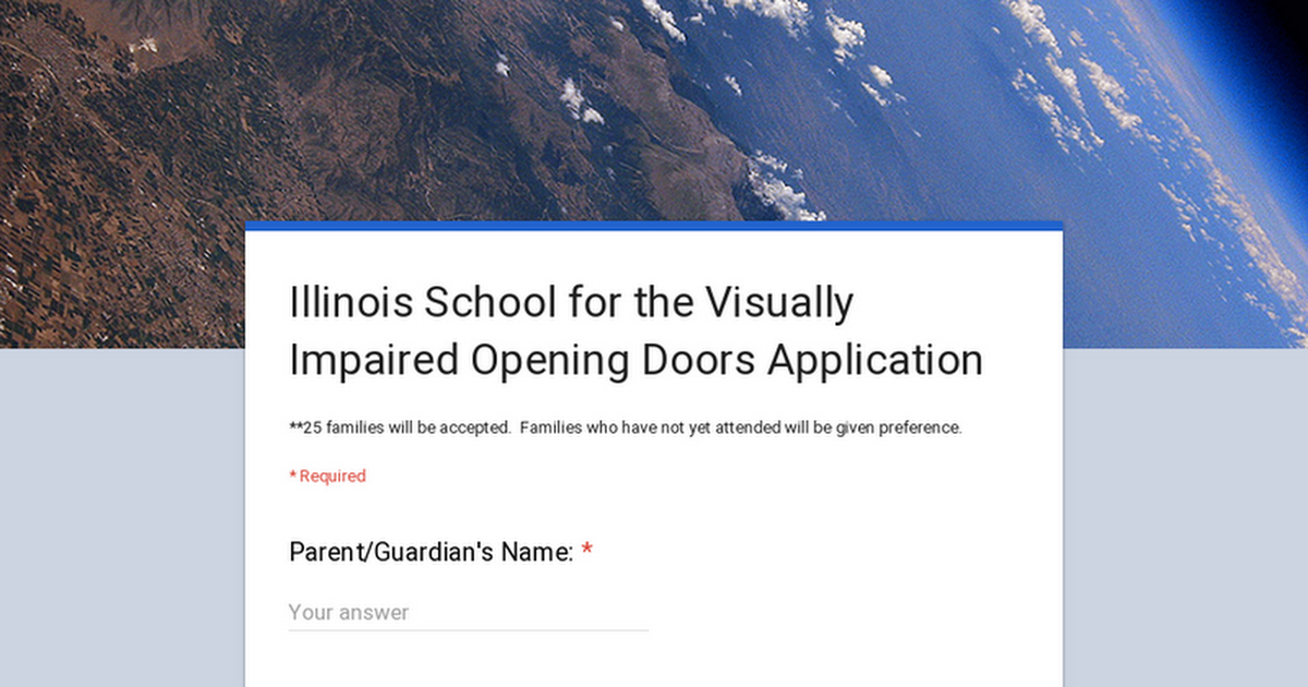 Illinois School for the Visually Impaired Opening Doors Application