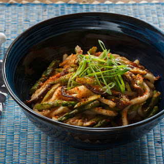 Fresh Udon Noodle Stir-Fry with Asparagus, Shiitake Mushrooms & Togarashi.