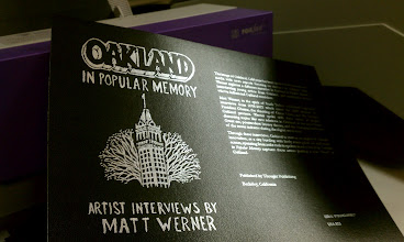 Photo: Oakland in Popular Memory covers being printed before book binding at Saddle Point Systems in Berkeley. Cover is printed with silver foil using the Foilfast® Printer P21x http://www.powis.com/products/printers/Foilfast_P21x.php