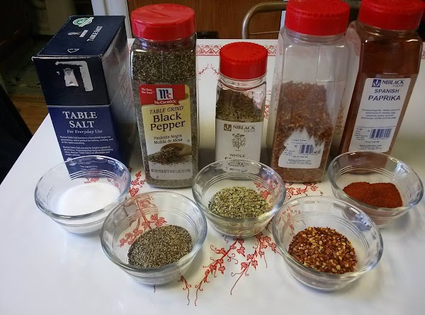 Seasonings all measured out and ready to go into ground pork.