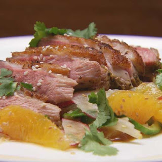 Spiced Duck Breast Salad with Duck and Orange Hoisin Sauce.