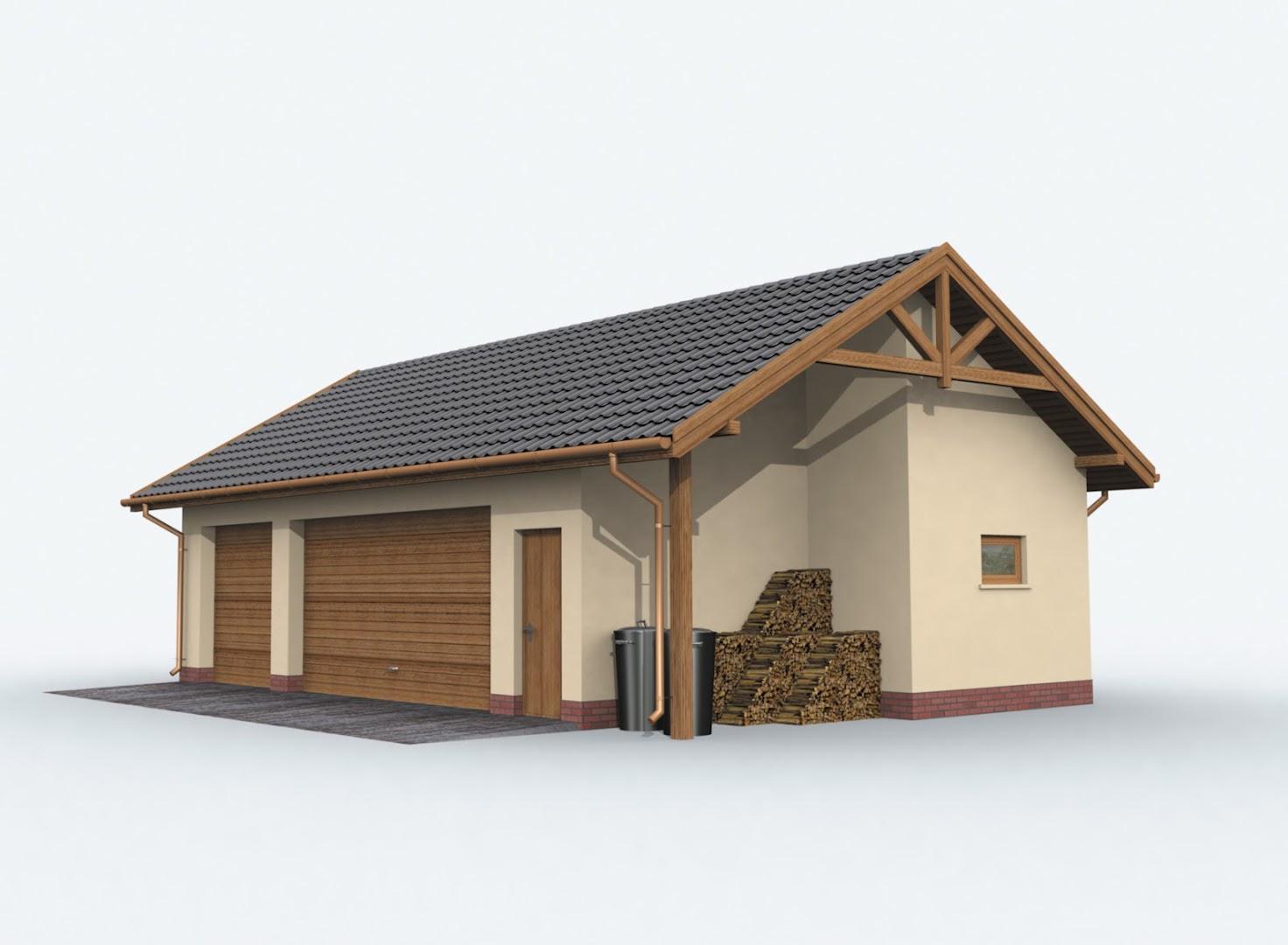 Projekt Garażu G156 Szkielet Drewniany Garaż Trzystanowiskowy Z
