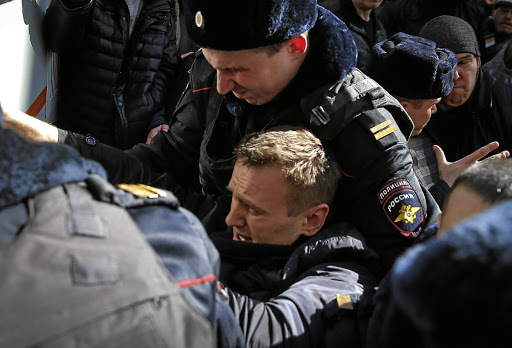 Police detain anti-corruption campaigner and opposition leader Alexei Navalny during a rally in Moscow, Russia, in 2017. Picture: REUTERS/MAXIM SHEMETOV