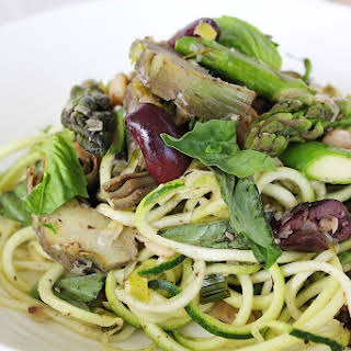 Spring Vegetable Pasta with Butter Beans & Olives.