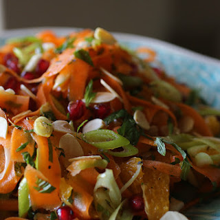 Shaved Carrot Salad with Orange, Pomegranate and Mint