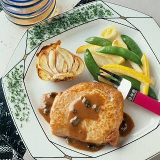 Pork Chops with Mustard-Peppercorn Sauce.