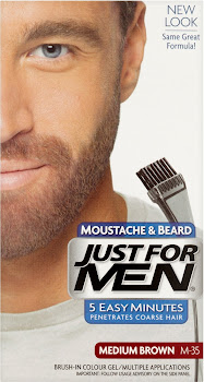 Just For Men Moustache & Beard Brush-In Colour Gel - M-35 Medium Brown