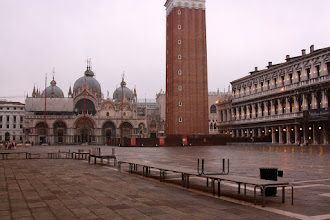 """Photo: St. Mark's Square with walkways for the """"acqua alta"""" or high waters."""