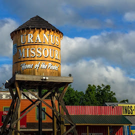 Fun in Uranus by Wilson Silverthorne - Artistic Objects Signs ( uranus, water tower, sign, clouds, missouri,  )