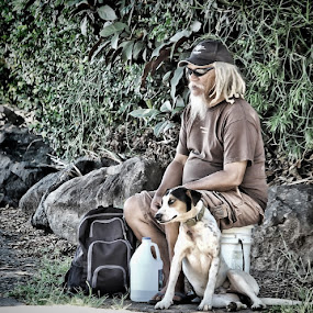 Man and Dog by Val Ewing - People Street & Candids ( man and his dog, street capture, dog, hawaii, man, big island )