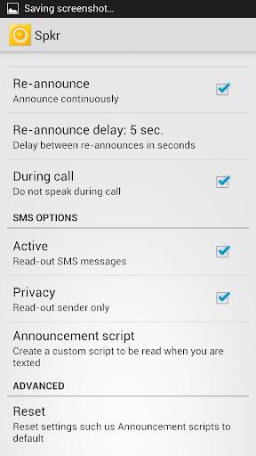 Call & SMS Announcer - Spkr screenshot 1