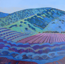 """Photo: Round Valley Vineyard, acrylic on canvas 12"""" x 12"""" by Nancy Roberts, copyright 2014. Private collection."""