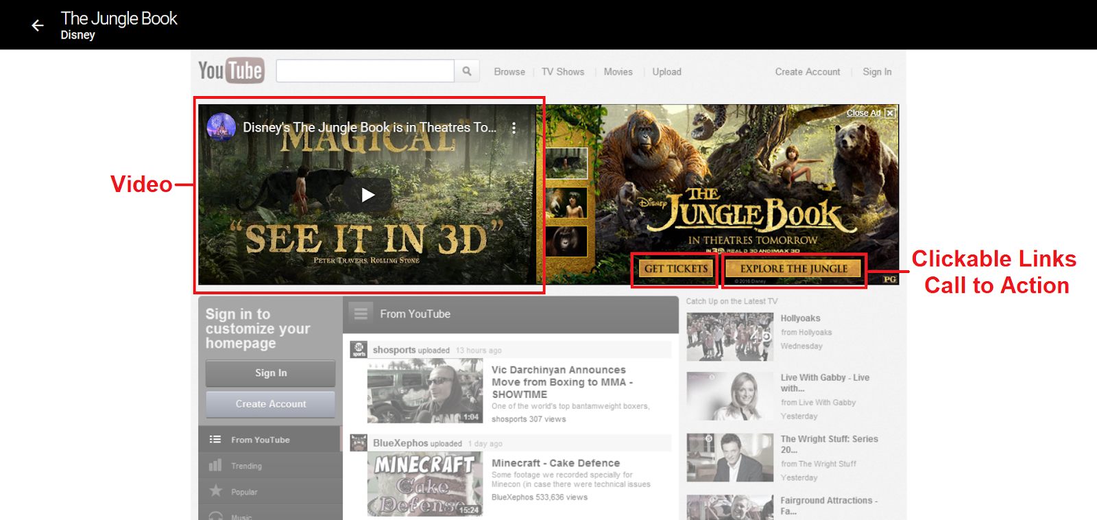 "A banner ad on YouTube for ""The Jungle Book"" with a playable video and calls-to-action."