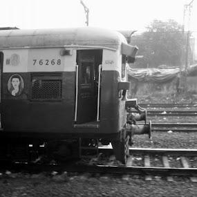 Mumbai Local by Naveed Dadan - Transportation Trains ( black and white, art, street, india, travel, people, portrait, man, photography, city )
