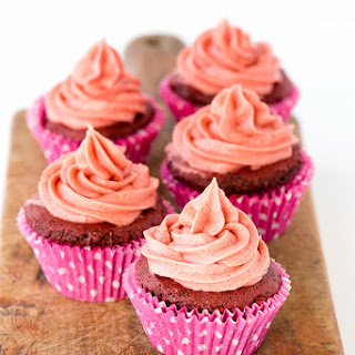 Gluten-Free Pink Velvet Cupcakes with Real Strawberry Buttercream Frosting.
