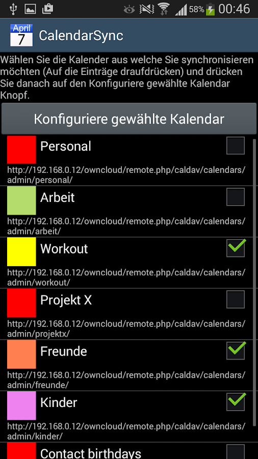 CalendarSync - Testversion – Screenshot