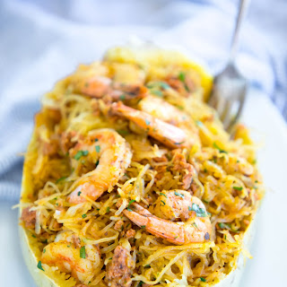 Keto Shrimp & Chorizo Spaghetti Squash Bowls.