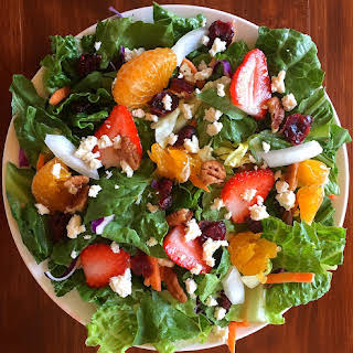 Salad with Fruit Walnuts and Feta Cheese.