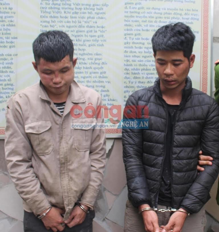 2 đối tượng bị bắt giữ trong vụ án trộm chó xảy ra trên địa bàn huyện Nghi Lộc vào đầu tháng 1/2020