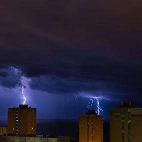 Lightning storm by Ivica Bajčić - Landscapes Weather ( rijeka, thunder, lightning, badweather, thunderstorm, blue, croatia, weather, storm )