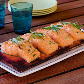 Grilled Salmon with Tarragon Mustard Sauce.
