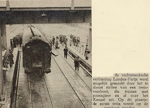 Photo: The first train Paris-London is being loaded on the ferry (October 1936)