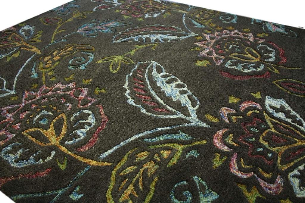100% wełnany dywan z Indii ręcznie taftowany 160x230 brązowy kolorowe kwiaty