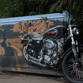out of the box by Joseph Escopin - Transportation Motorcycles ( uk, motorbike, coming out of canvas, free rider, artwork )