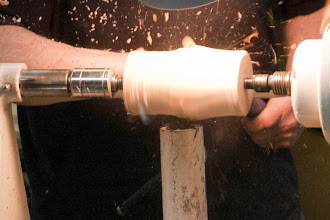 Photo: Mike started the next piece by roughing out a cylinder.