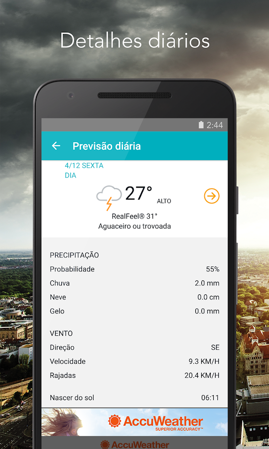 AccuWeather: relatório do clima e alertas do tempo: captura de tela