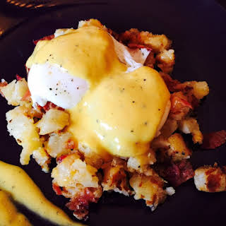 Poached Eggs with Cheesy Bacon Hash.