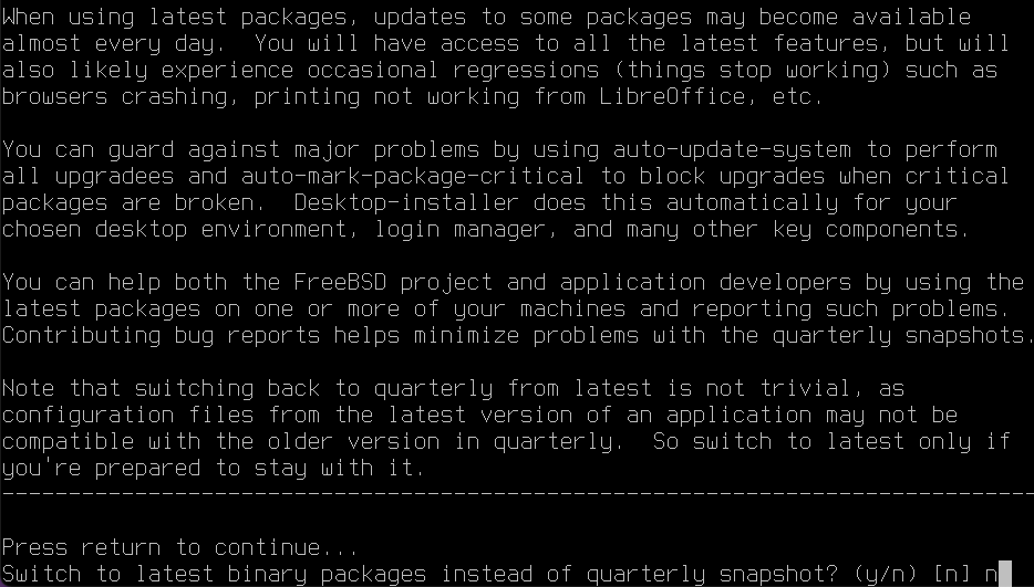 Install FreeBSD with KDE - Desktop Installer [snapshots]. Source: nudesystems.com