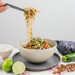 Rainbow Veggie Udon Noodle Salad with Almond Sauce Dressing.