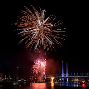 Winter Fireworks- Docklands by Madhujith Venkatakrishna - Abstract Fire & Fireworks