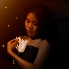 a friend just flowers and fireflies by Vaar Photowork - People Fine Art