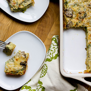 Asparagus, Mushroom, And Kale Egg Casserole With Quinoa Crust